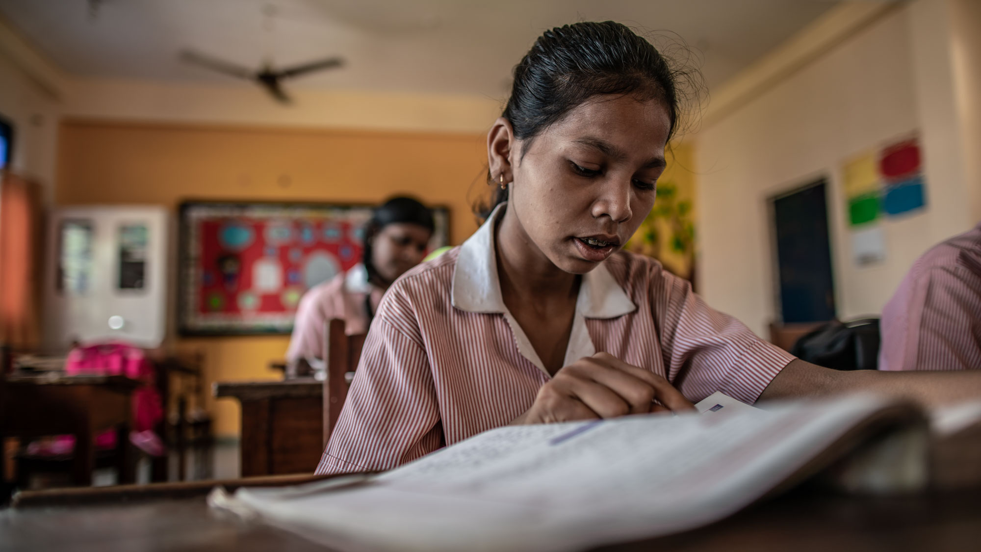 "LUCKNOW, UTTAR PRADESH, INDIA - SEPTEMBER 7, 2018: Prerna, which means ""inspiration"" in English, is an outgrowth of the Study Hall School. It is a formal all-girls school covering pre-school to twelfth grade. Prerna is run, as is the Study Hall School, by the private Study Hall Educational Foundation (SHEF). Prerna is an all-girls school by design; we wanted to reach girls who are deprived of an education because of a paucity of resources at home. We also wanted to have a clear and undiluted focus on girls and their needs. Photo by Jaco Bester"