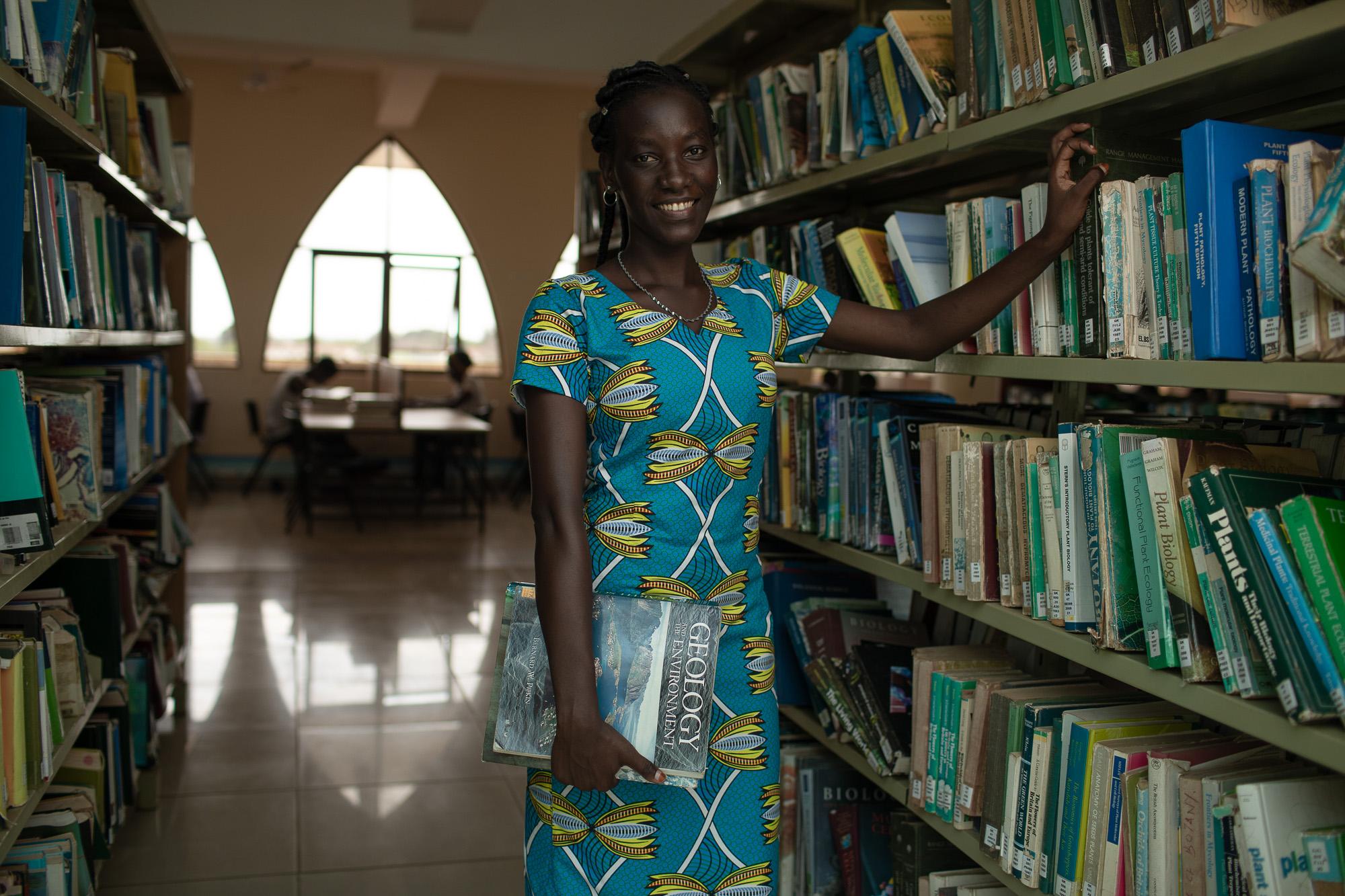 Mutiria Purity Gatwirri, 22, at the Pwani University library