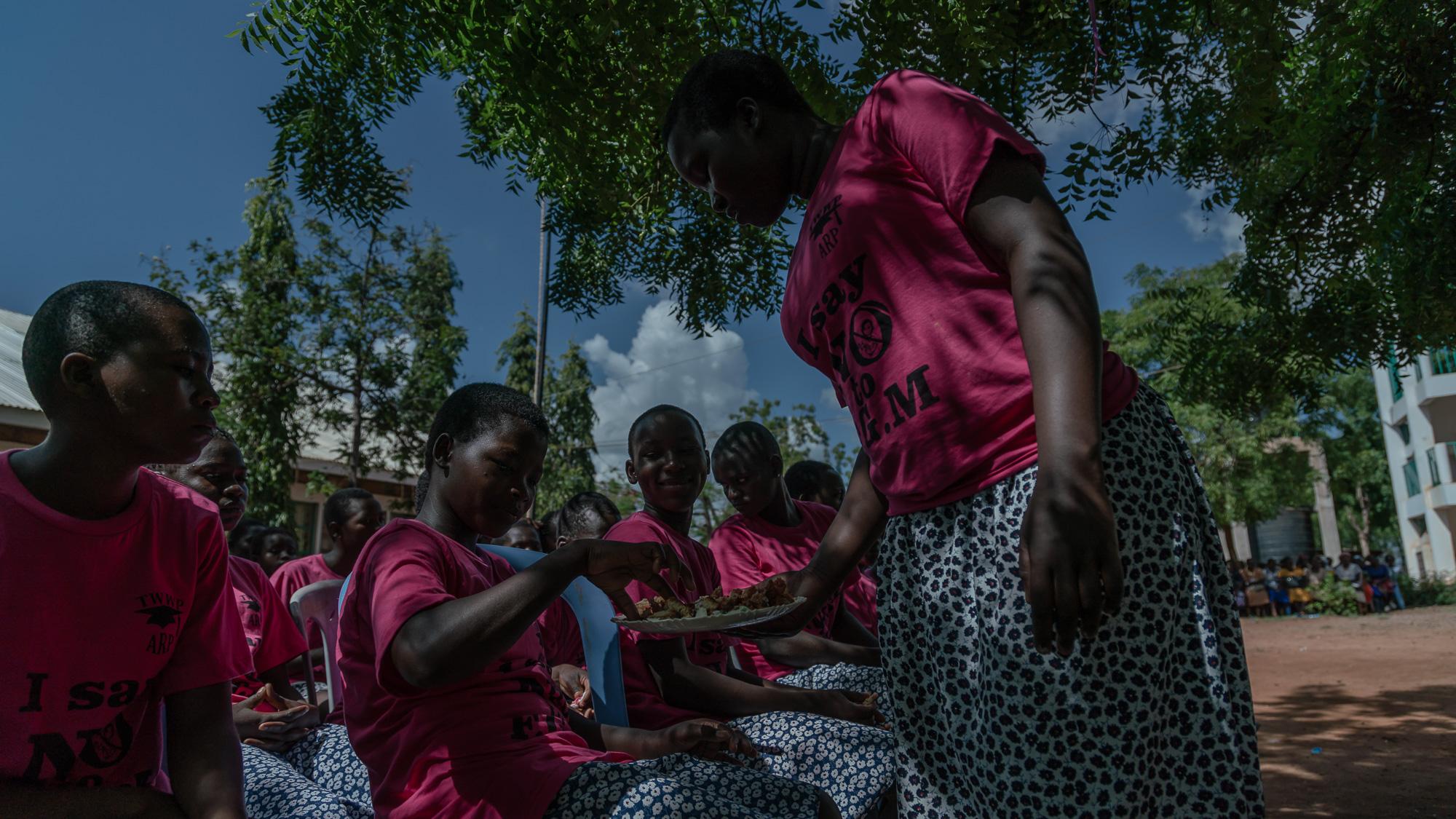 Adolescent girls attend an Alternative Rite of Passage Ceremony