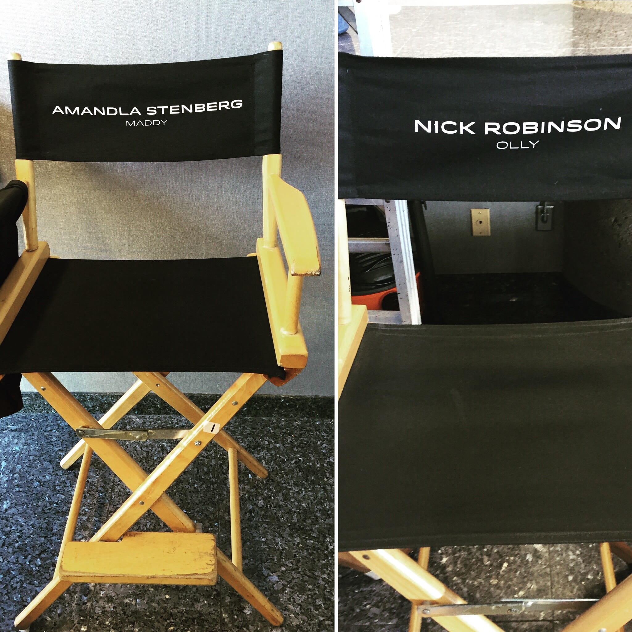 Amandla Stenberg's (Maddy) & Nick Robinson's (Olly) chairs from the set of the EVERYTHING, EVERYTHING movie!