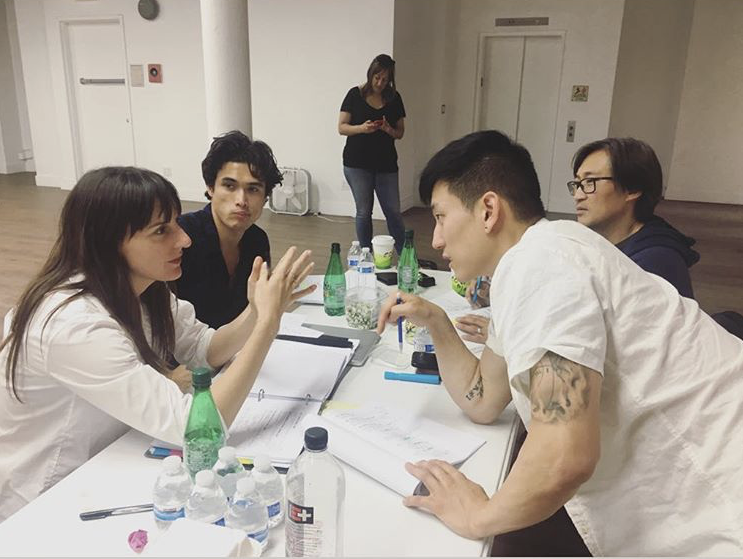 Director Ry Russo in rehearsals with the Bae family! Charles Melton (Daniel), Jake Choi (Charles), Keong Sim (Dae Hyun)