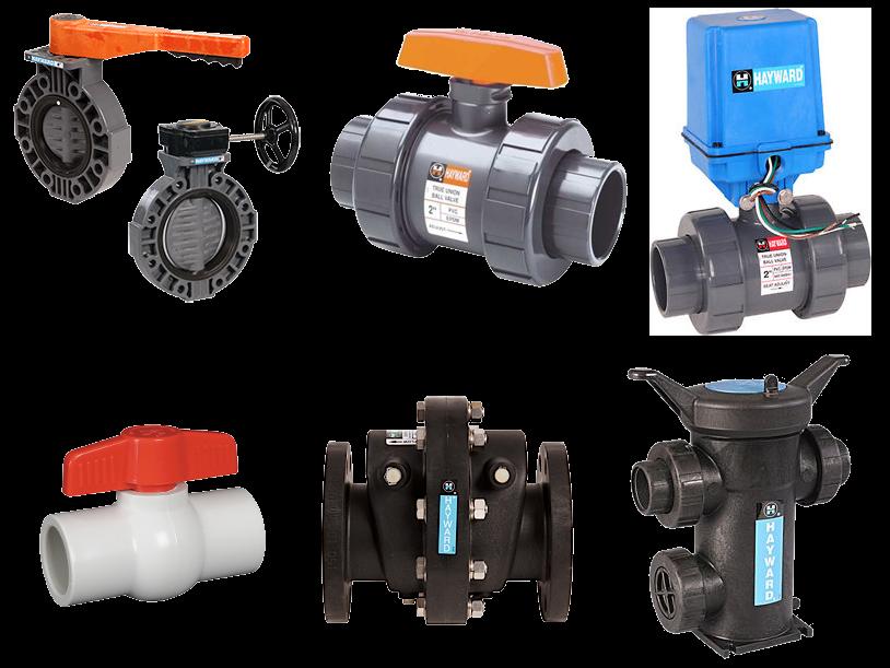 Includes plastic valves, actuators, filters, strainers and pumps.