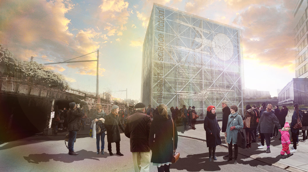 Exterior rendering by Jerry Vanek, Lead Architect for the Museum of Science Fiction