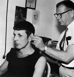 Fred Phillips applying Spock's ears, 1967