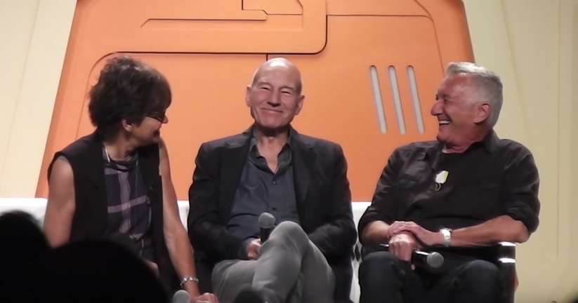 "Margot Rose, Sir Patrick Stewart, and Morgan Gendel talk about ""The Inner Light"" at Creation Entertainment Star Trek Convention, Las Vegas 2017. Image courtesy of Heather Ferris."