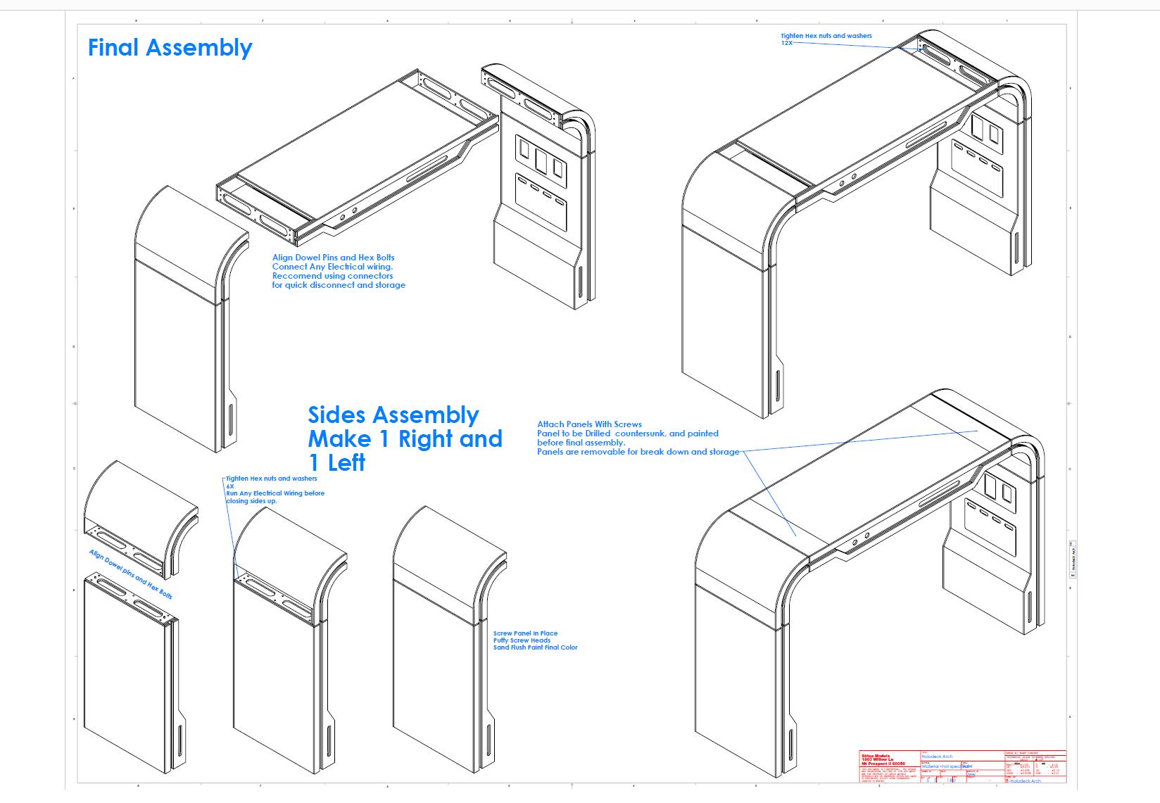 Holodeck Arch prop assembly art by Jeff Wargo  Star Trek  TNG