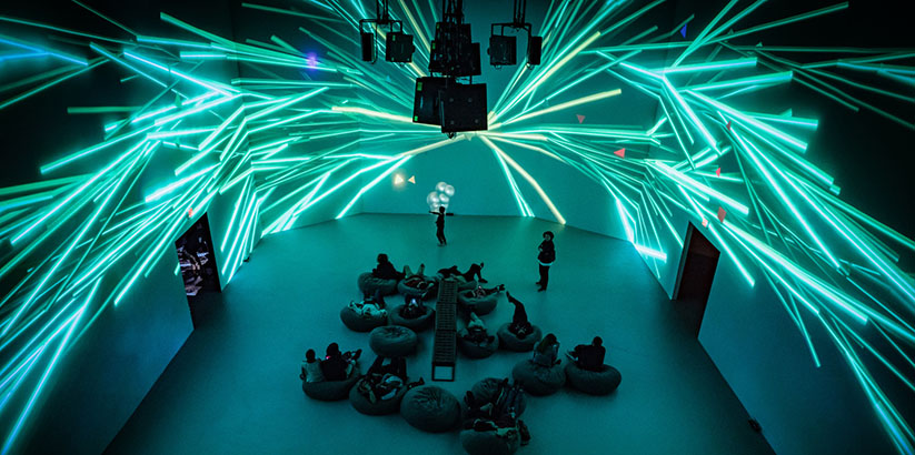 """New Nature"", a large scale art exhibition at ARTECHOUSE in Washington, DC. 4 rooms, surround projections, LED trees, responsive floors and 13 interactive terrarium stations."