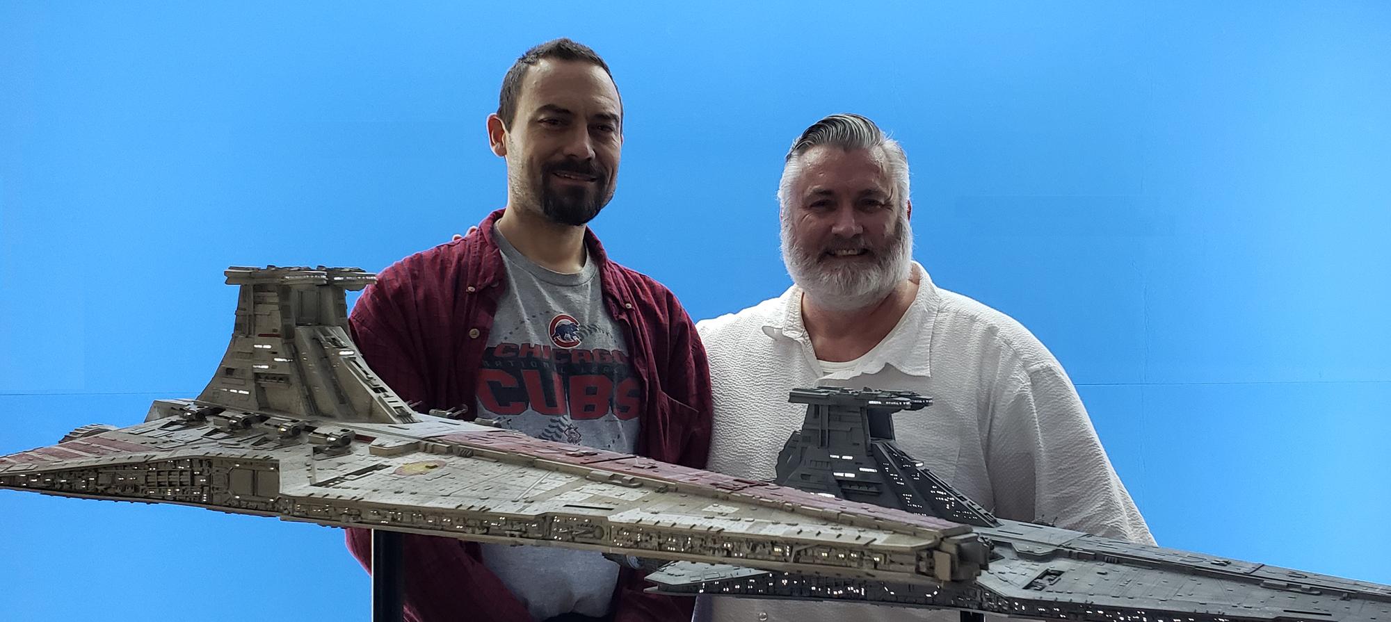 Dan Grumeretz (L) and Kurt Kuhn with Republic Star Destroyers
