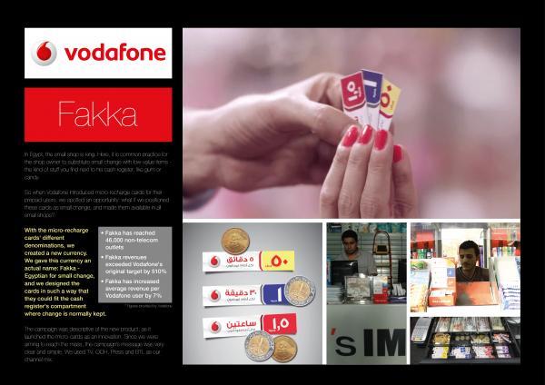 Vodafone Fakka in Egypt (Dubai Lynx Awards board)