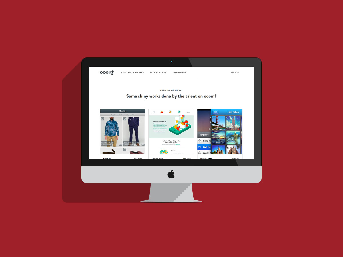 Ooomf is a marketplace for mobile/interface design