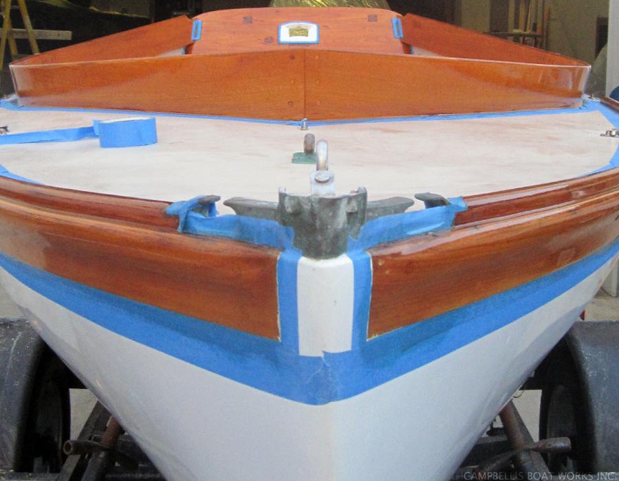 Refinishing Brite Work on a Doughdish, Bourne Cape Cod