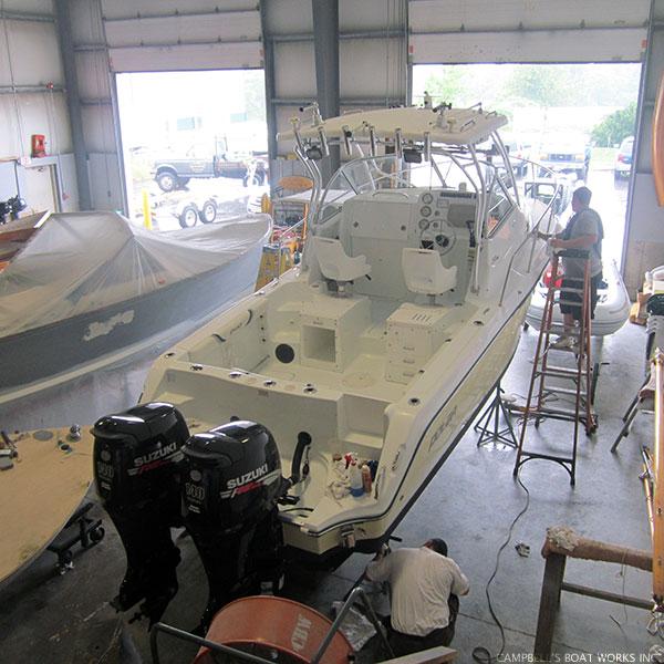 Boat Buffed, Waxed, and Polished
