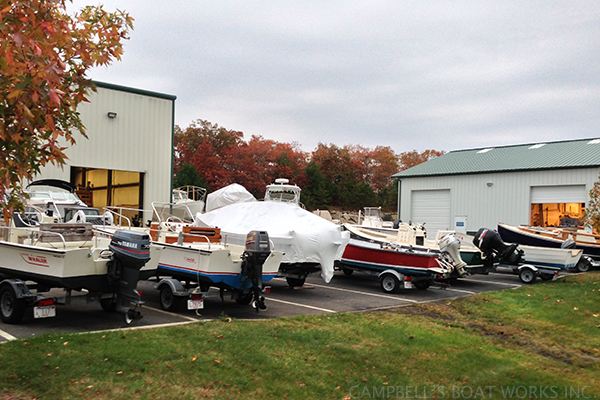 Skiffs and Whalers Lined up For Winterizing and Shrink Wrap Bour