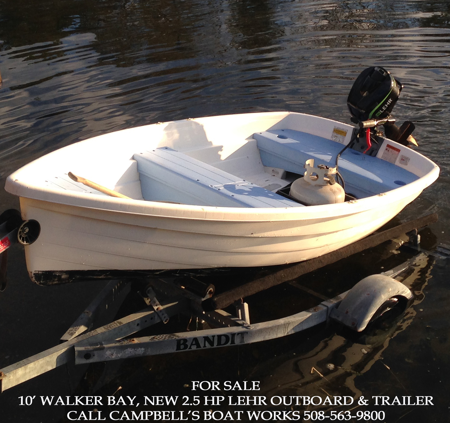 Walker Bay Boat, New 2.5 hp Propane Outboard, and Trailer Package For Sale and Ready for the 2014 Boating Season! Call us for more information or to come view this boat. 508-563-9800