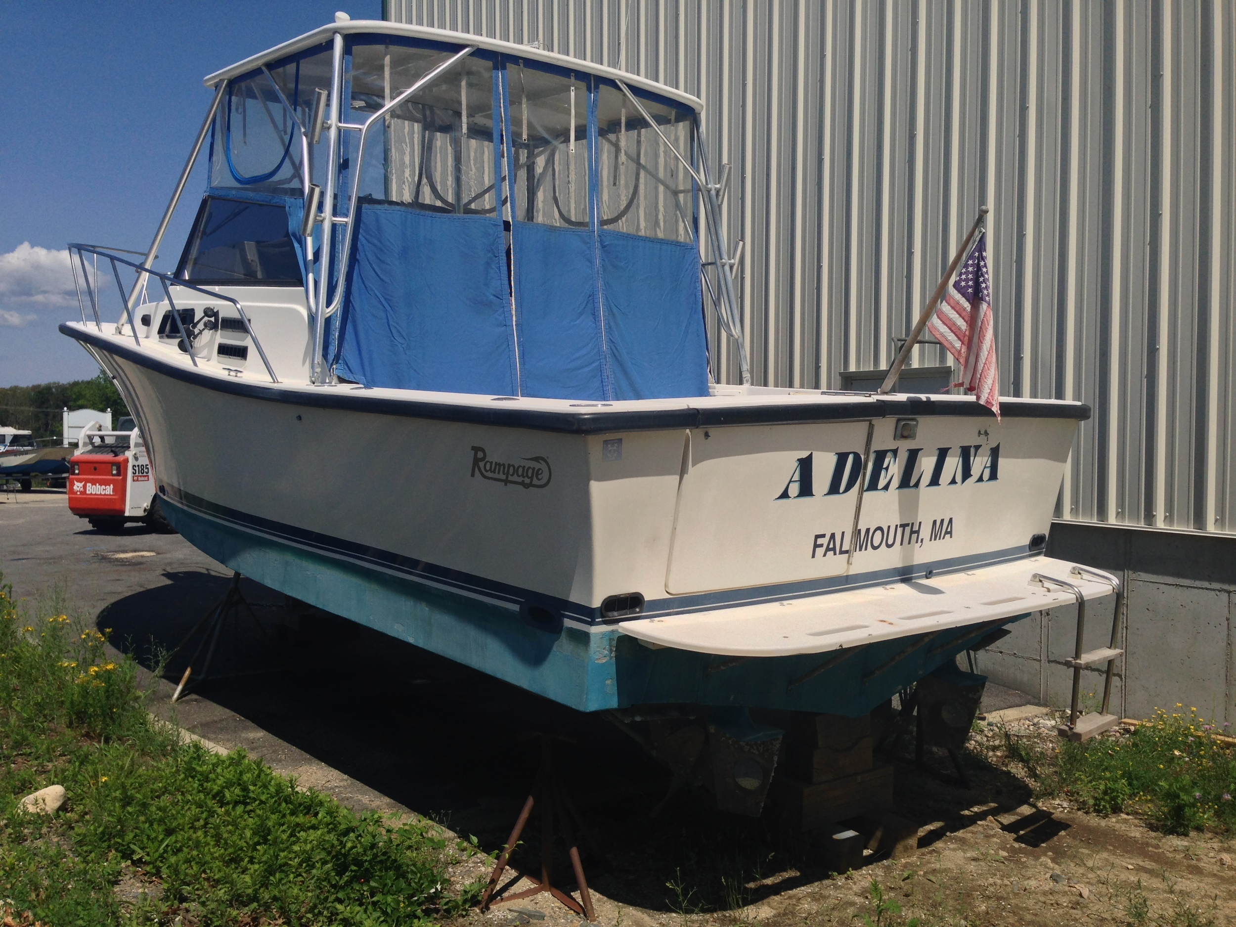 31' Rampage with twin 5.9 l. Cummins diesel engines, hardtop, fully enclosed head, tuna door, full galley, v-berth with bunks. Call us to come view this boat! 508-563-9800