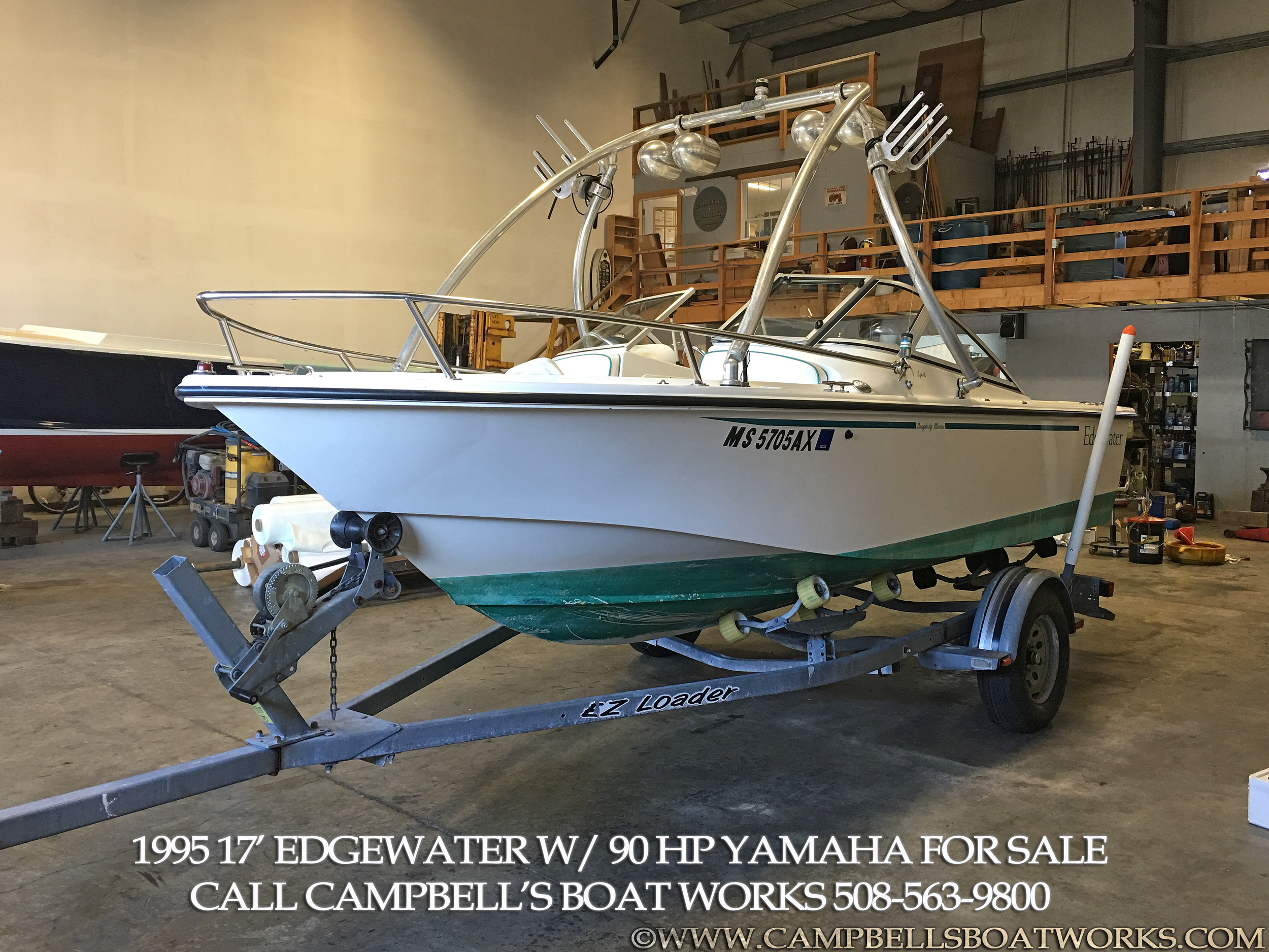 17' Dual Console Edgewater with 90 hp Yamaha outboard and Ez Loader Trailer. Call 508-563-9800 with questions or to schedule a time to come see this boat!