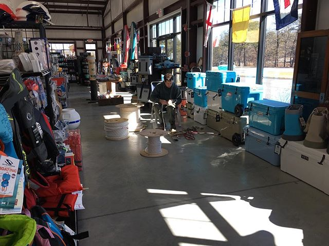 Splicing mooring lines on this first Saturday of the season! And all the new Yeti colors and styles are here!  #splicing #boatsupplies #yeticoolers #capecod #boating #marinestore