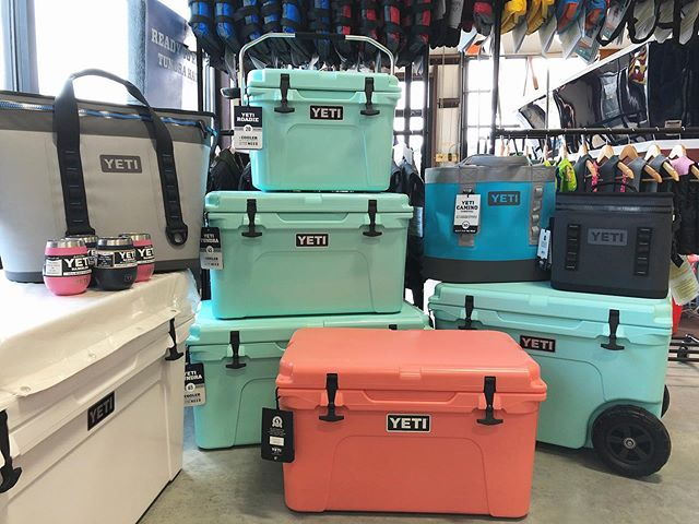 Mother's Day is this Sunday and we have gifts she'll love and special pricing on coral coolers!  #mothersday #yeticoolers #capecod #seafoamyeti #yeticaminocarryall #campbellsboatworks