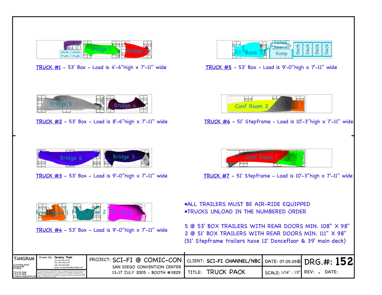 Truck pack drawings for all scenic elements of structure