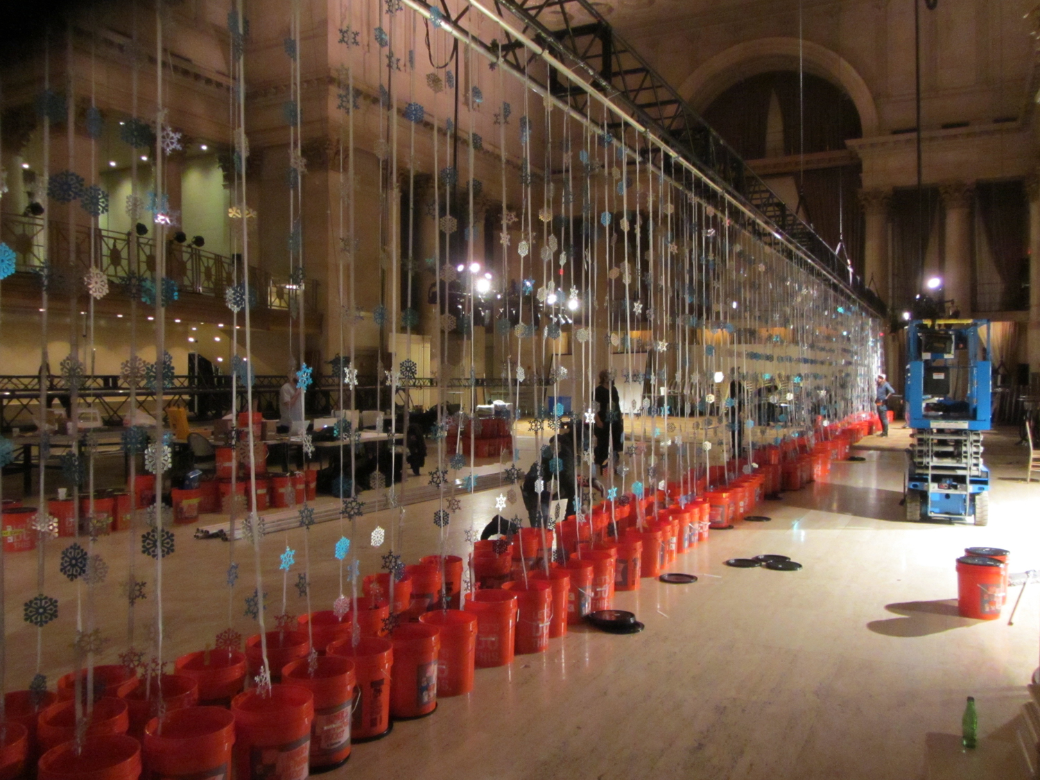 Start of the rig in Cipriani with strings of snowflakes stored in buckets