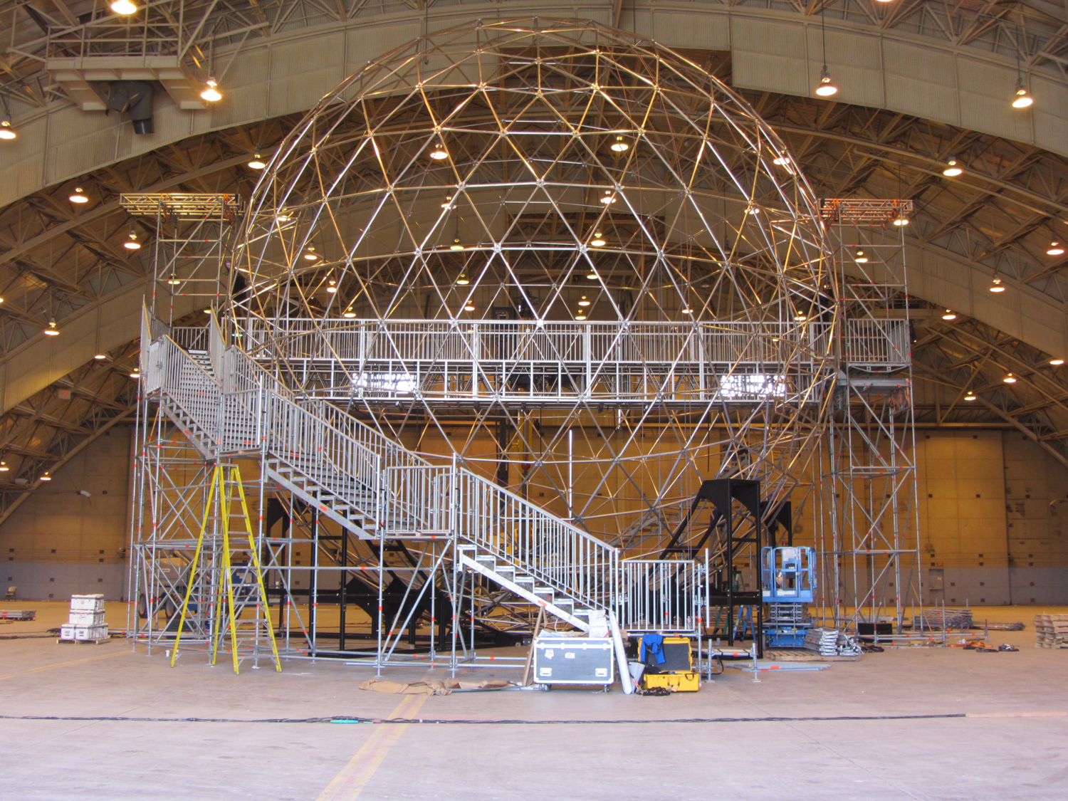 Test build in CA - Geodesic with bridge & stair structure.