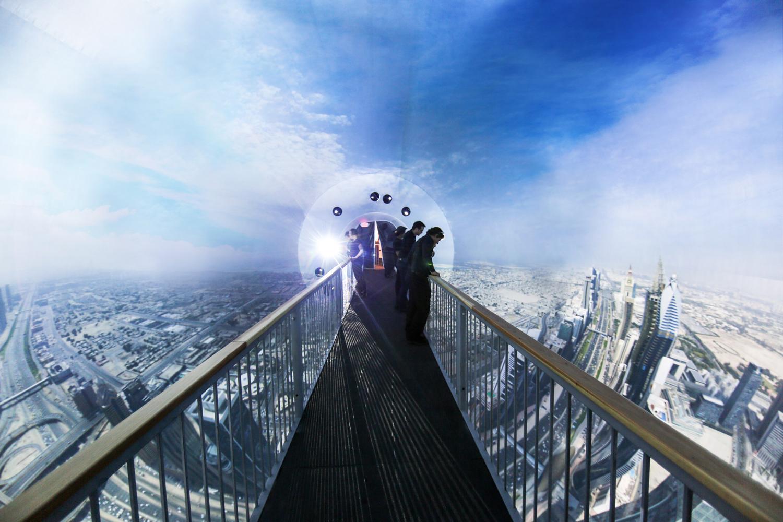 Dubai - View across bridge with projected image.