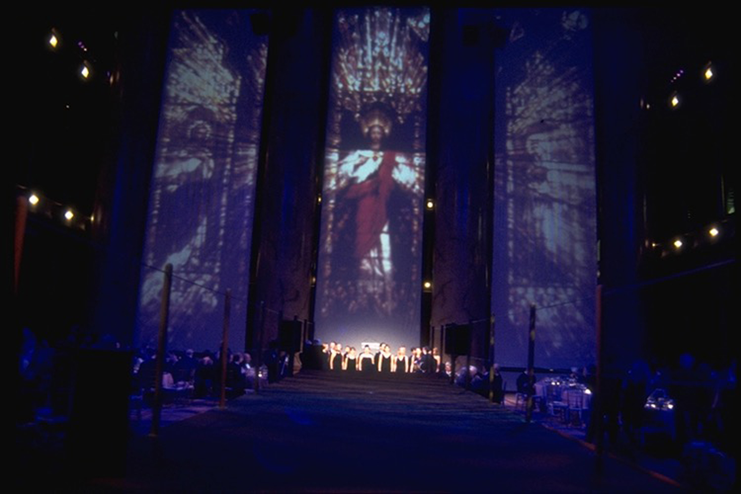 Georgetown University -  Million dollar donor celebration - Museum of Building, Washington DC - Large format rear projection screens between existing venue columns, showing Georgetown's Chapel stained glass windows.
