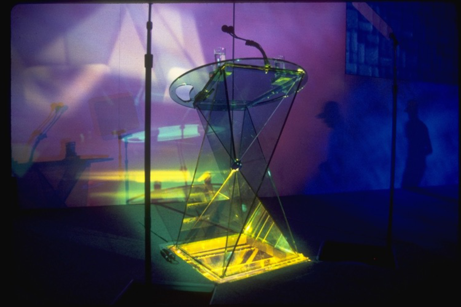 Merck Salesforce Meeting -  Underlit green-tinted plexiglass lectern, which folds completely flat for transport