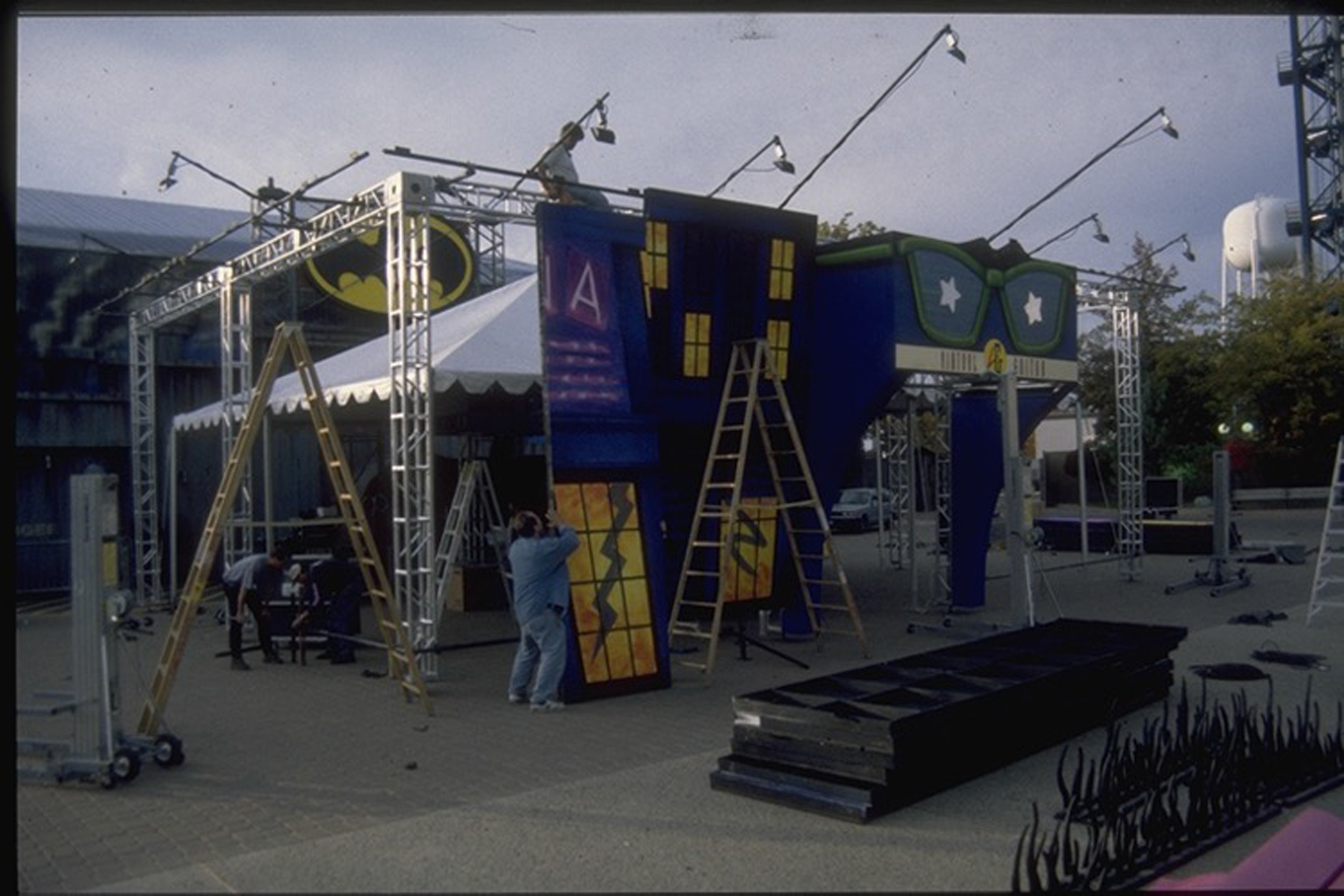 Virtual Guitar Launch -  Build process. Interior of tent contained gaming modules & stage with full audio set-up