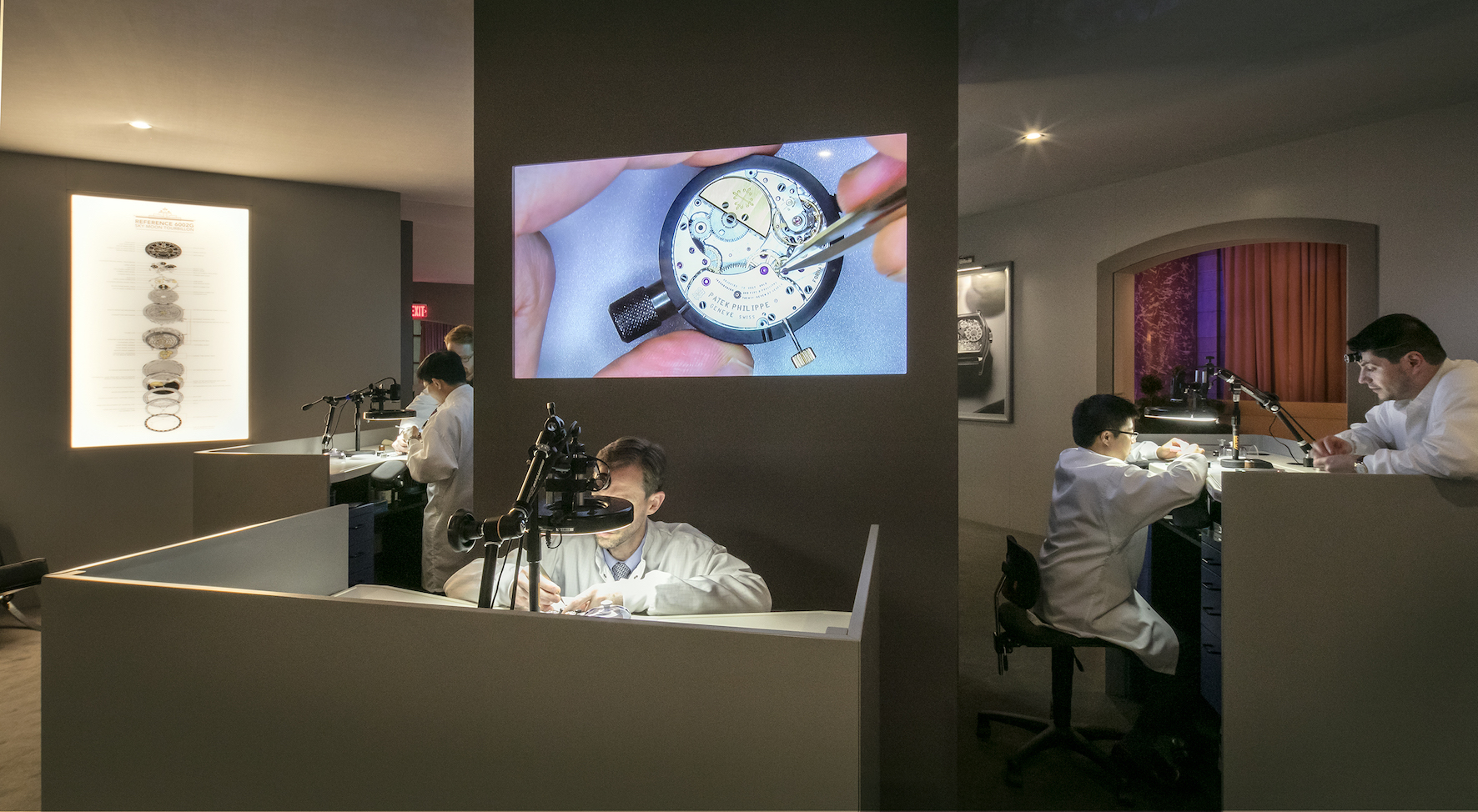 Watch repair specialists in the Watchmakers Room