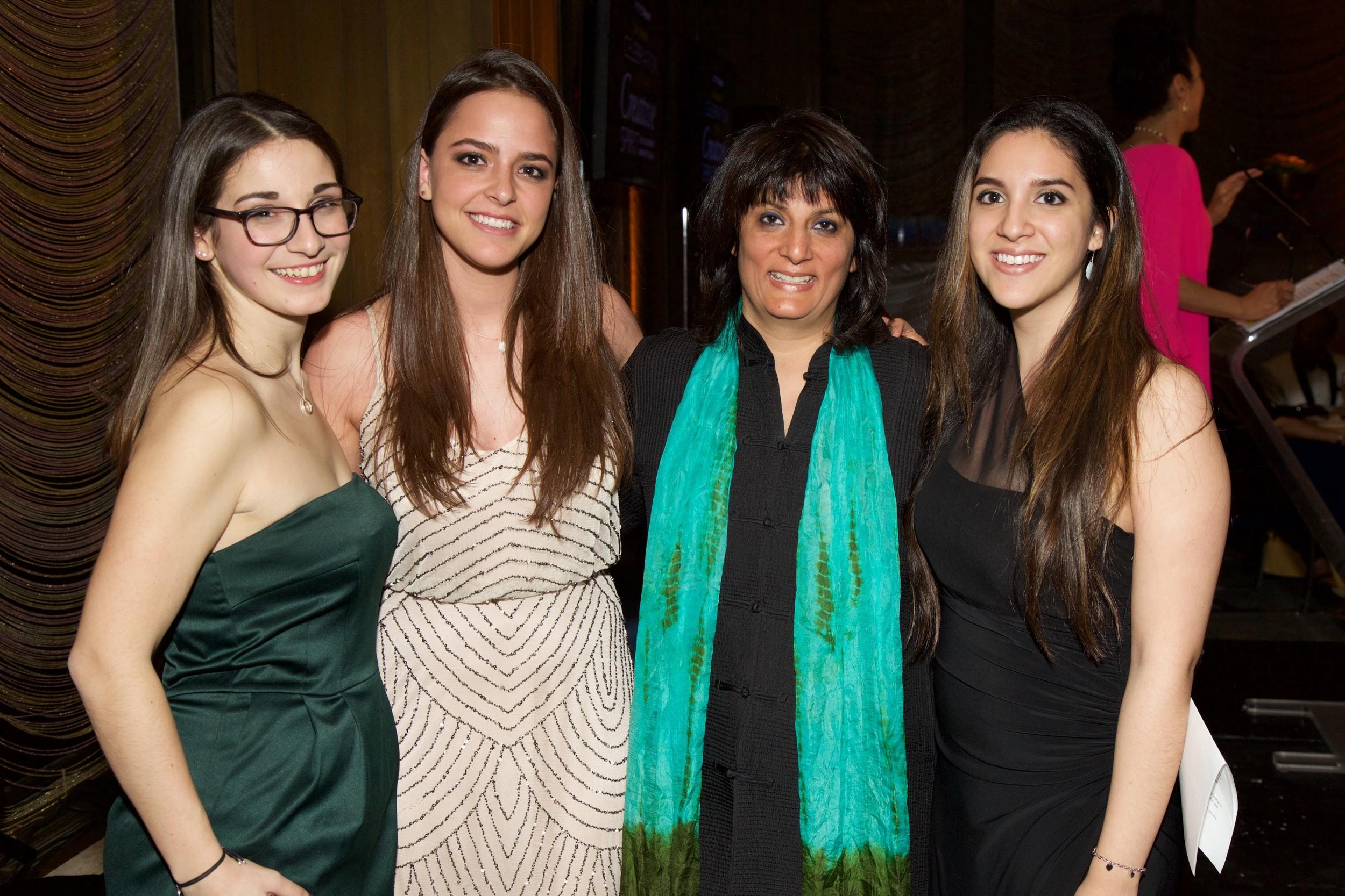 """2015 Marcio Moreira Mulitcultural Scholarship winner, Antonia Orol-Berlinger, Maria Alma Guede Pina, Devika Bulchandani, and Beatriz Hernandez""""  (Photo Credit:Julie Skarratt)"""
