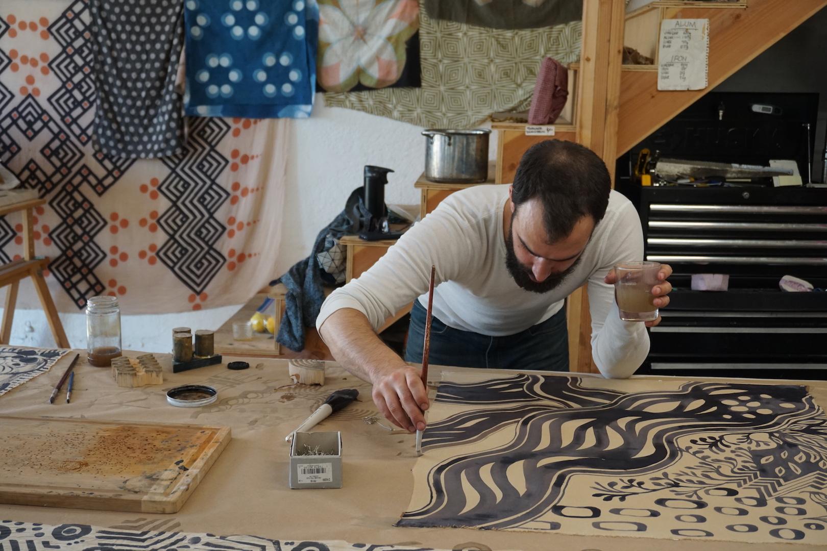 Graham Keegan Painting Natural Dye Class No Boil Black Iron on Tannin Cotton SIlk.jpg