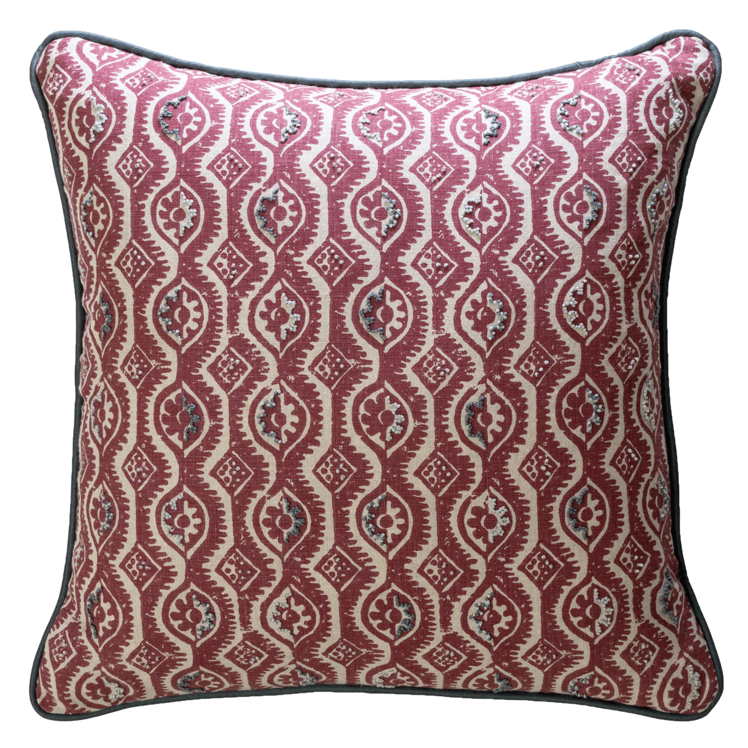 <p>BLITHFIELD PEGGY ANGUS SMALL DAMASK  - Red cushion embroidered with French knots</p>