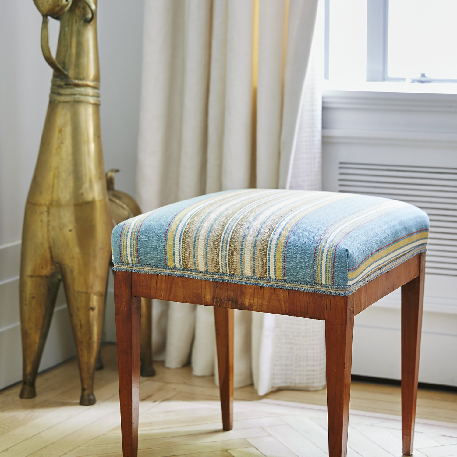 14.Blithfield - The Winthrop Collection - Windsor Stripe -  Aqua Gold Stool- B.jpg