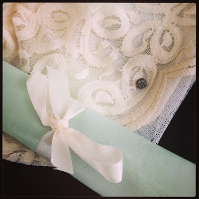 Savannah, GA: Well-Loved's Bridal Collection: Pale blue leather, ivory lining, and thick lace