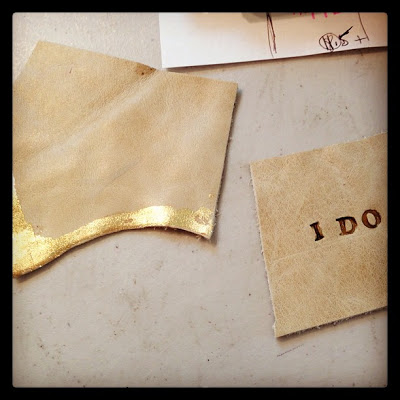 "Savannah,GA: Tester scraps for Bridal Collection: Gold leafed & Stamped with ""I DO"" and filled in with gold enamel."