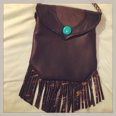 Savannah,GA: Black quality leather with insets and gold splatter painted fringe
