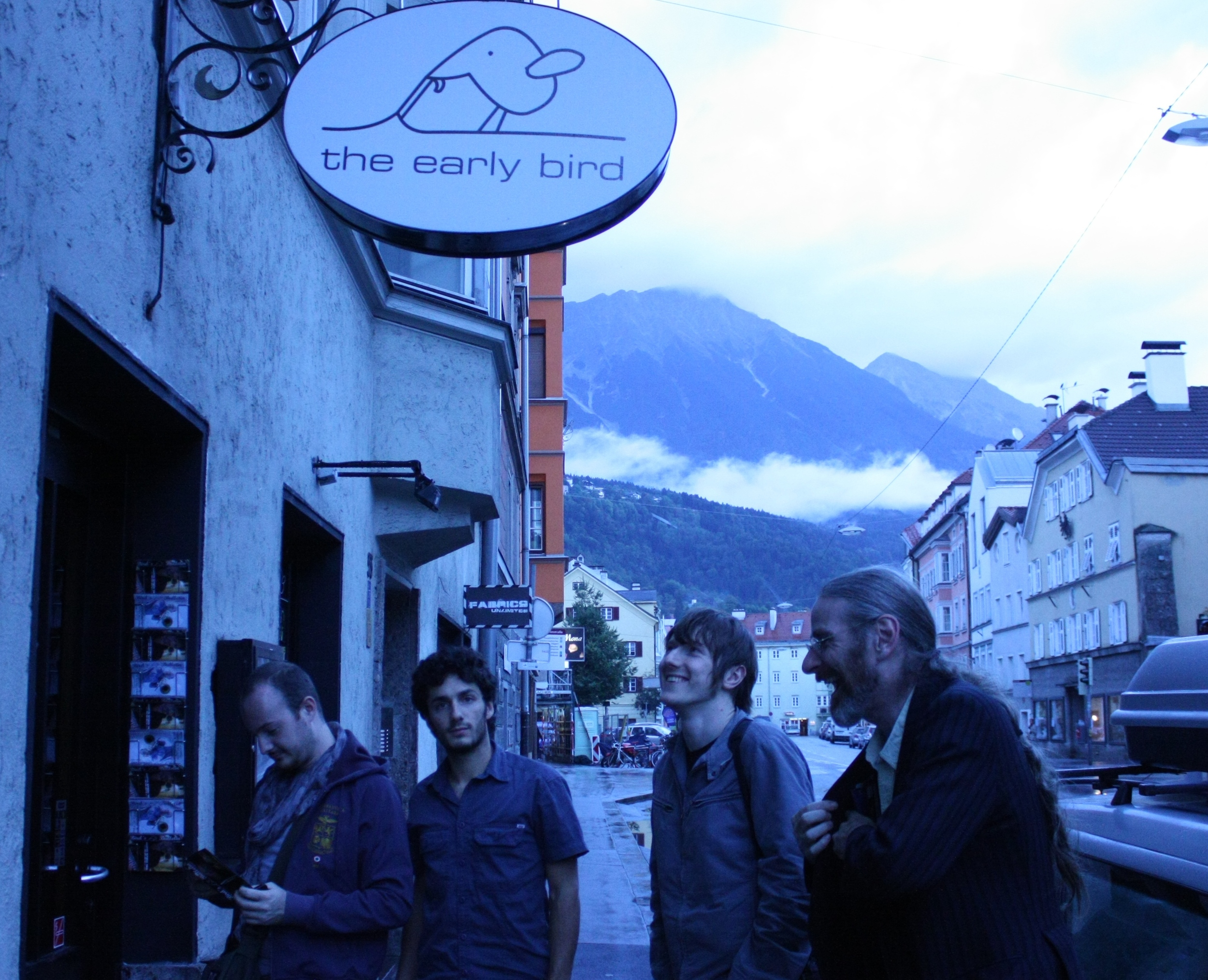 DAY 8: Innsbruck. Arriving at The Early Bird, one of the coolest Jazz themed venues I've ever been in. Owner Florian makes us some nice food.
