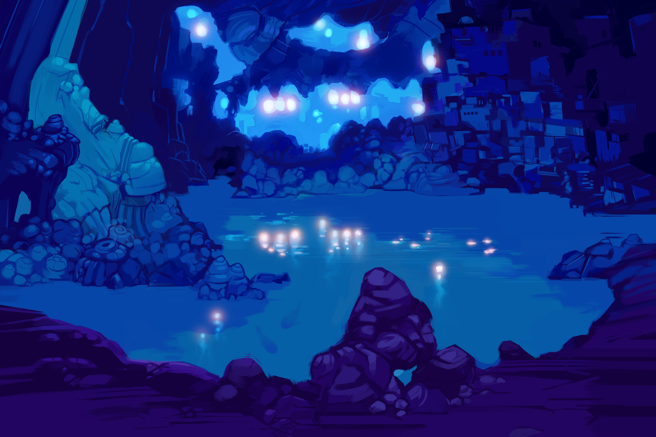 Plummet Caverns was painted to allow close-up dialog views with my standard characters, but also to give a sense of grand scale.