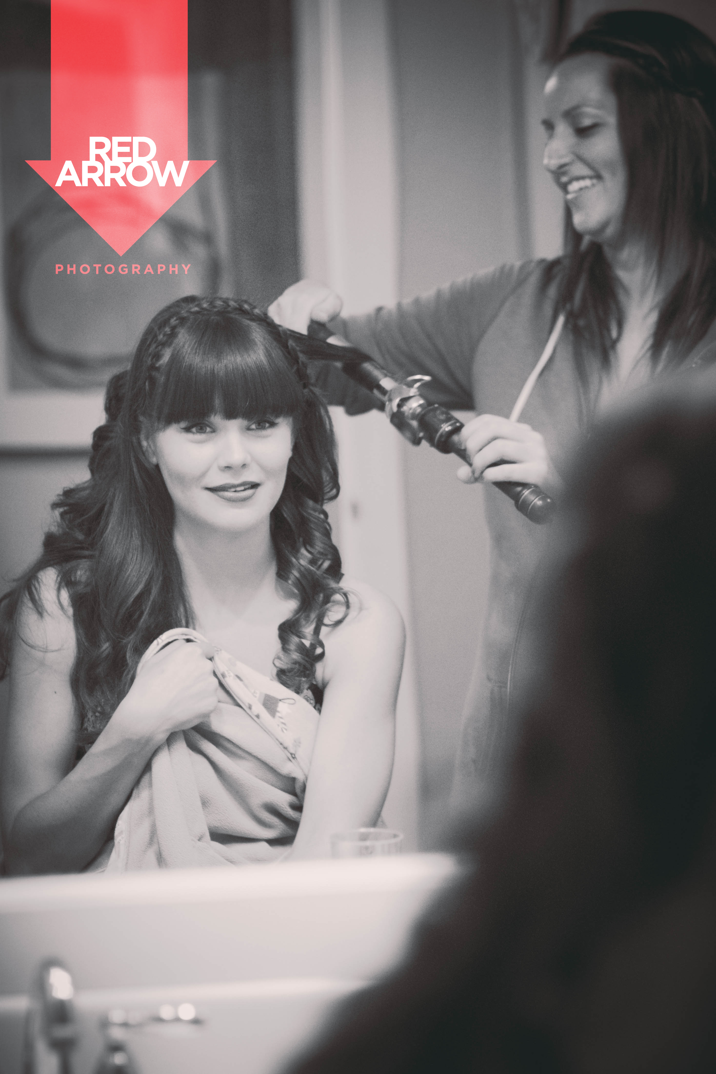 Maid of Honor getting her hair done.