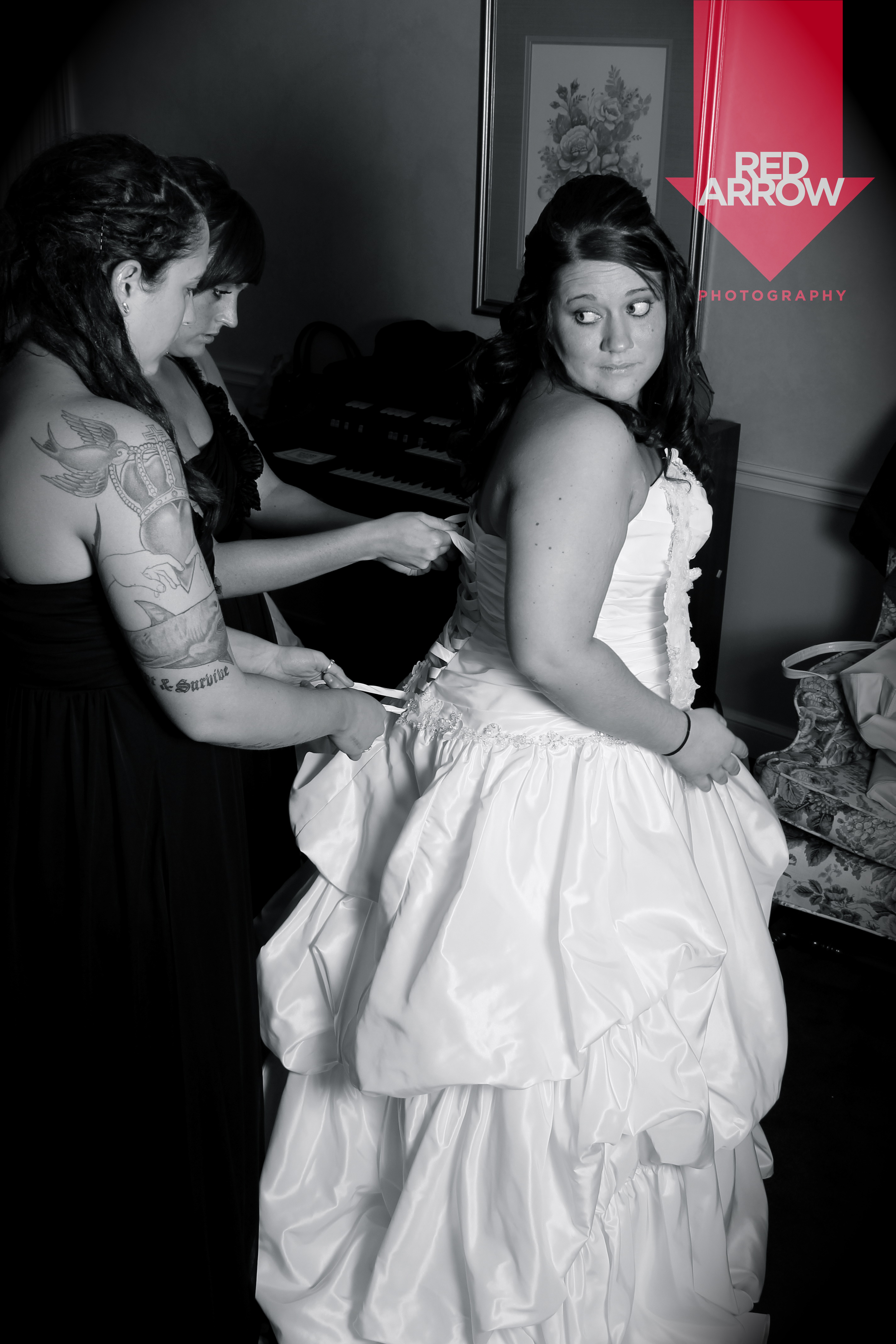 Bride getting all laced up.