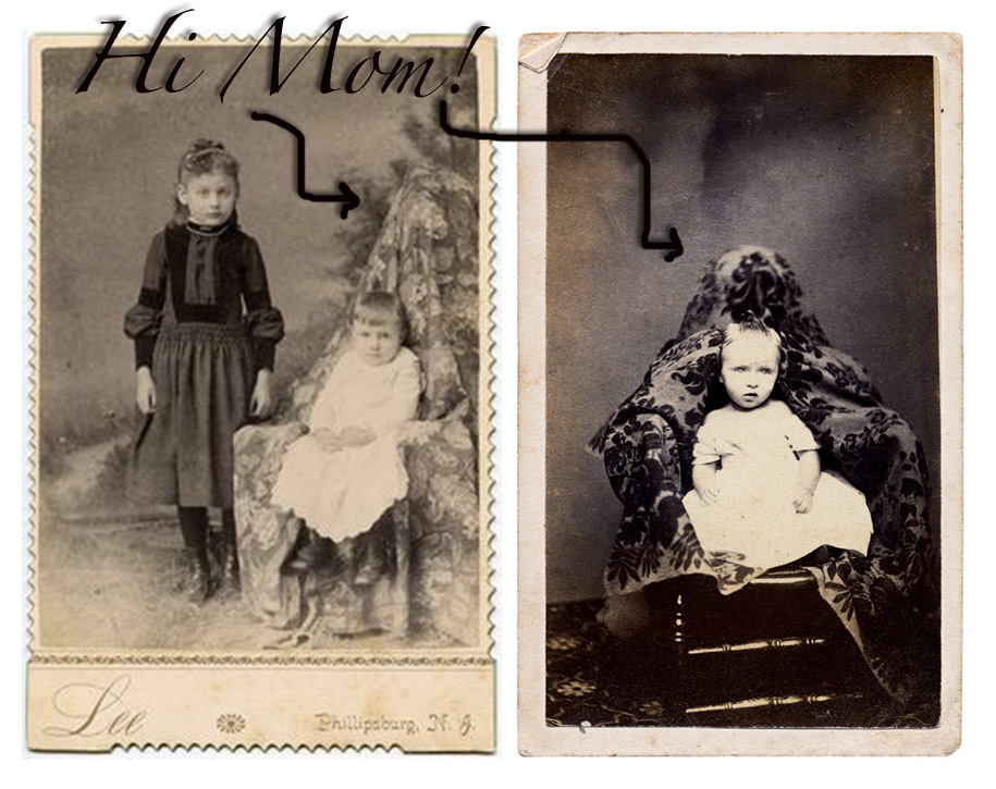 Victorian mothers can often be seen in family portraits, under tapestries or hiding behind chairs, holding on to their little ones so that they remained still while the image was being processed. Thank you digital photography... no more static shots necessary!