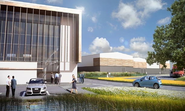 An artist's impression of Chinook Science's planned manufacturing, research and development base in Blenheim Lane, Bulwell.