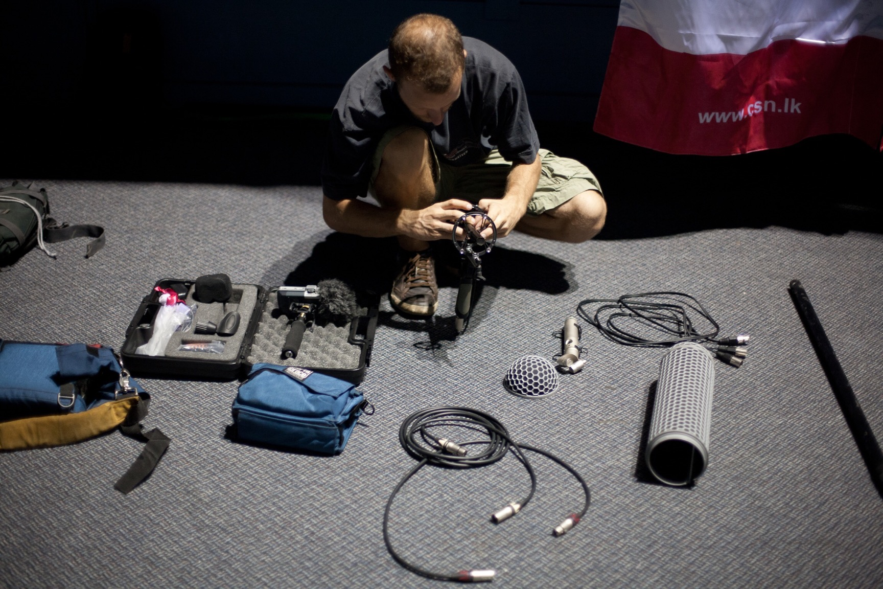 Sound effects recording gear prep (© Lee Bazalgette)