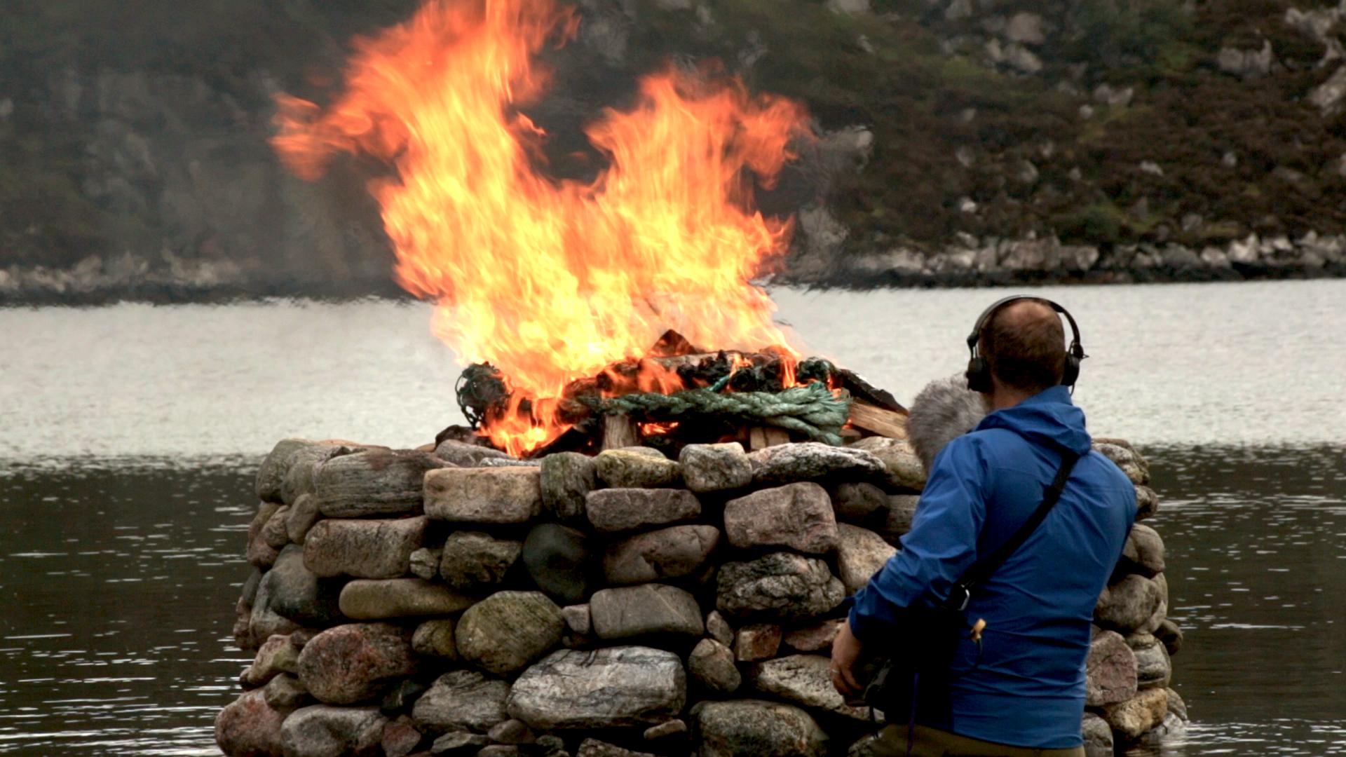 Recording a close perspective on one of Julie Brook's Firestacks. (© 2017  Julie Brook )