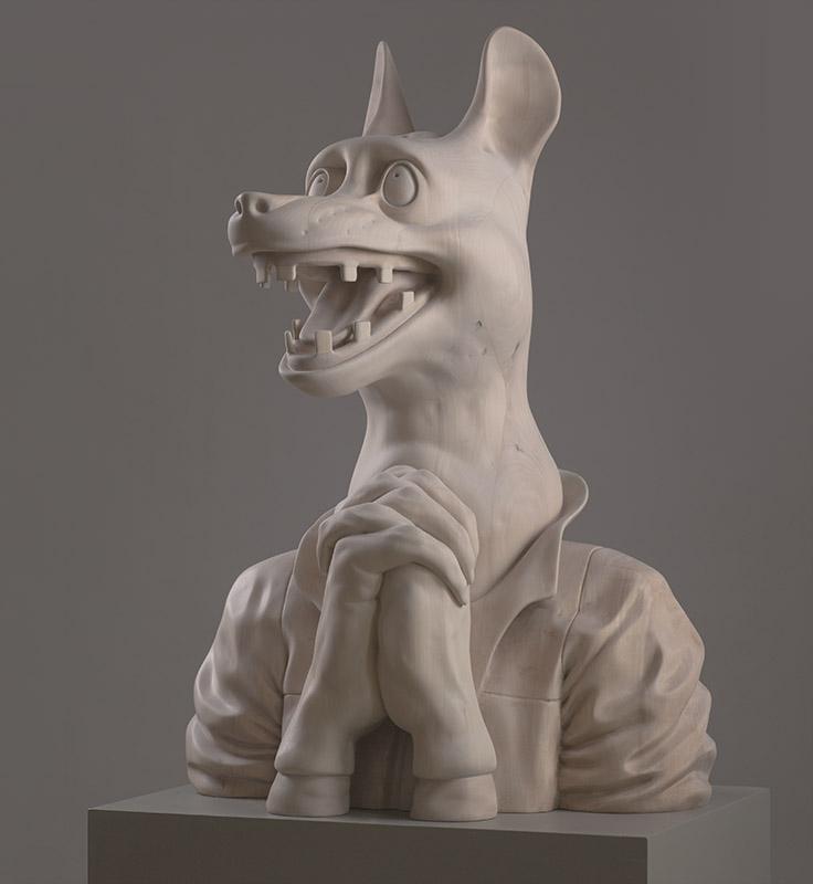 2012, wood carved sculpture