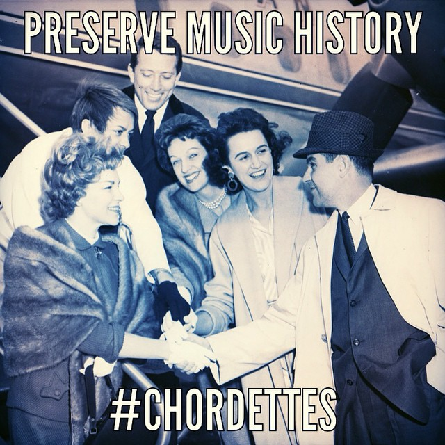 This is a photo of The Chordettes and Andy Williams during their first European tour. The Everly Brothers were with them as well! Please help us preserve the amazing story behind this photo (and many more) with a simple $5 dollar donation today! #chordettes #thechordettes  http://chordettes.org