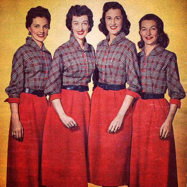 This rare photo of #thechordettes goes smashingly well with the brilliant fall colors taking place - here in New York!  #chordettes #amazing #nyfa #hellofall!