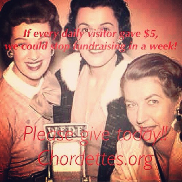 If every daily visitor to our website gave only $5, we would have enough to make our film in a week! #thechordettes need you now, more than ever! Please head to CHORDETTES.org Right. Now.  #chordettes #preserve #musichistory