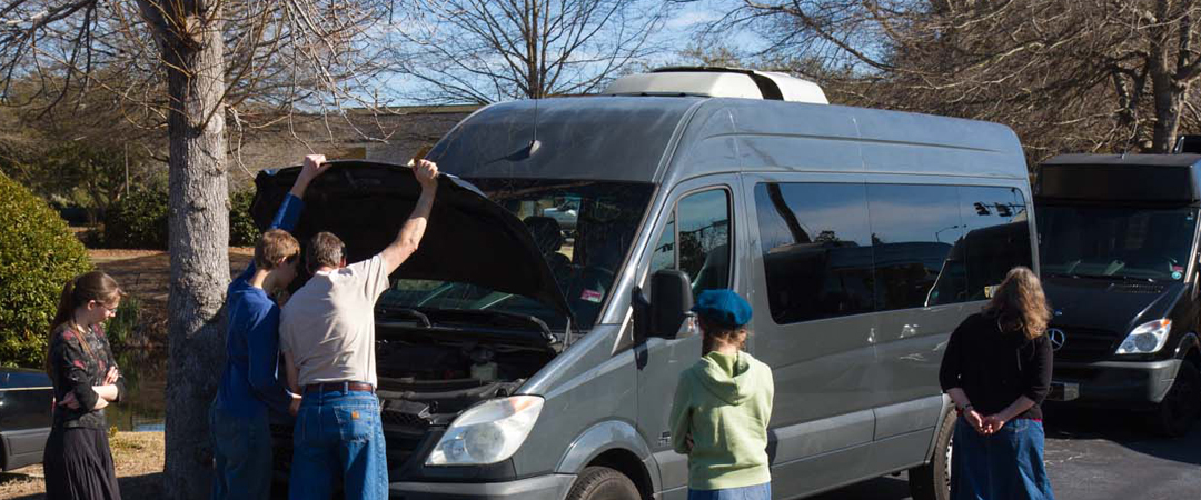 Checking out our new Sprinter van in South Carolina